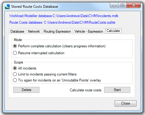 Setting up a Stored Route Costs Database