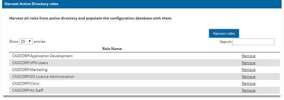 Harvest Roles (Windows Authentication)