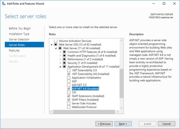 Configuring IIS on Windows Server 2016